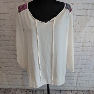 Maurice's sheer embroidered blouse sz M
